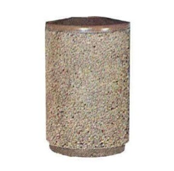 22 Gallon Concrete Round Trash Receptacle With Fiberglass Pitch-In Top