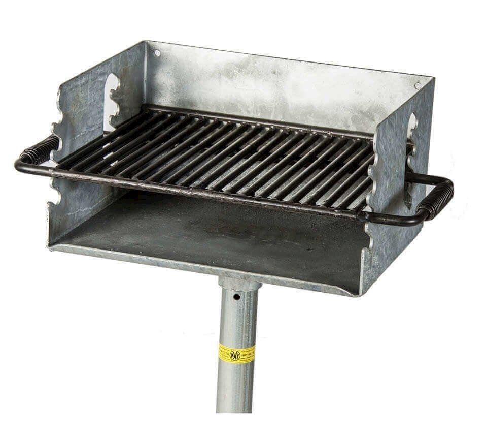 Charcoal Wood Burning Galvanized Pedestal Grill With