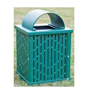 32 Gallon Square Laser Cut Plastisol Trash Receptacle
