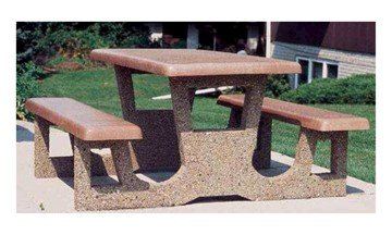 5 Foot Rectangular Concrete Picnic Table With 2 Attached Seats