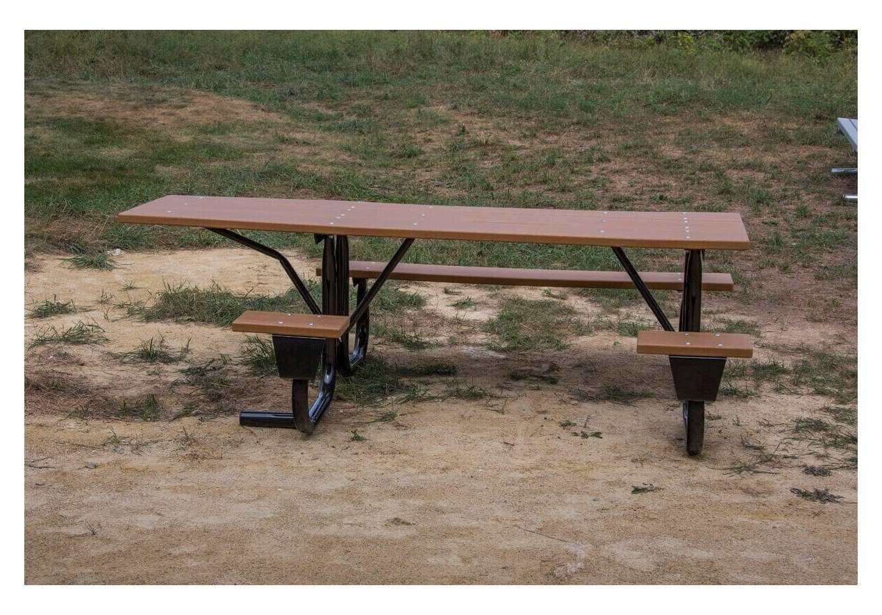 8 Ft. ADA Recycled Plastic Picnic Table, Wheelchair Accessible, Side ...