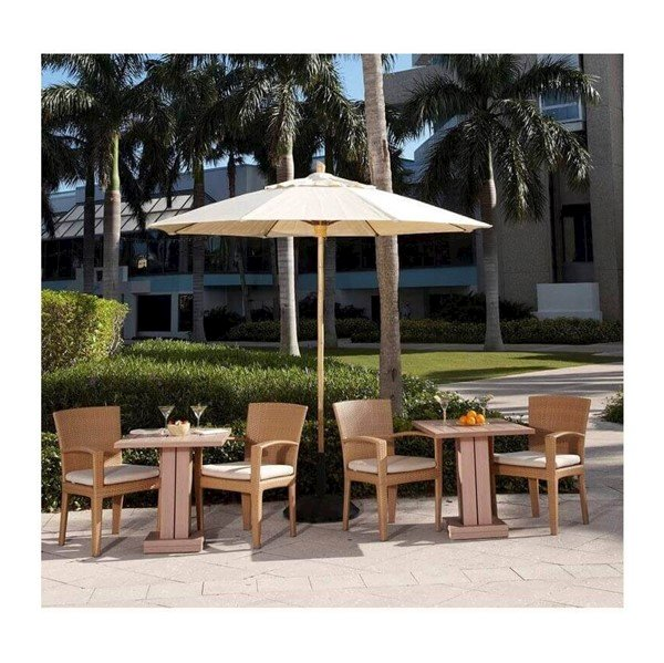 Commercial Market Umbrella Bambusa Style 11 Foot Octagon Diameter. One Piece Simulated Bamboo Pole. Marine Grade Fabric Top.
