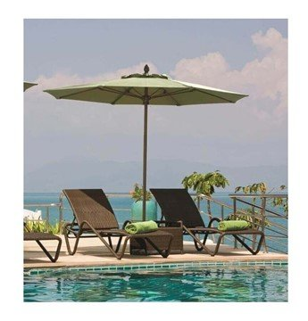 11 Ft. Lucaya Octagonal Fiberglass Ribbed Market Umbrella With One Piece Aluminum Pole And Marine Grade Fabric
