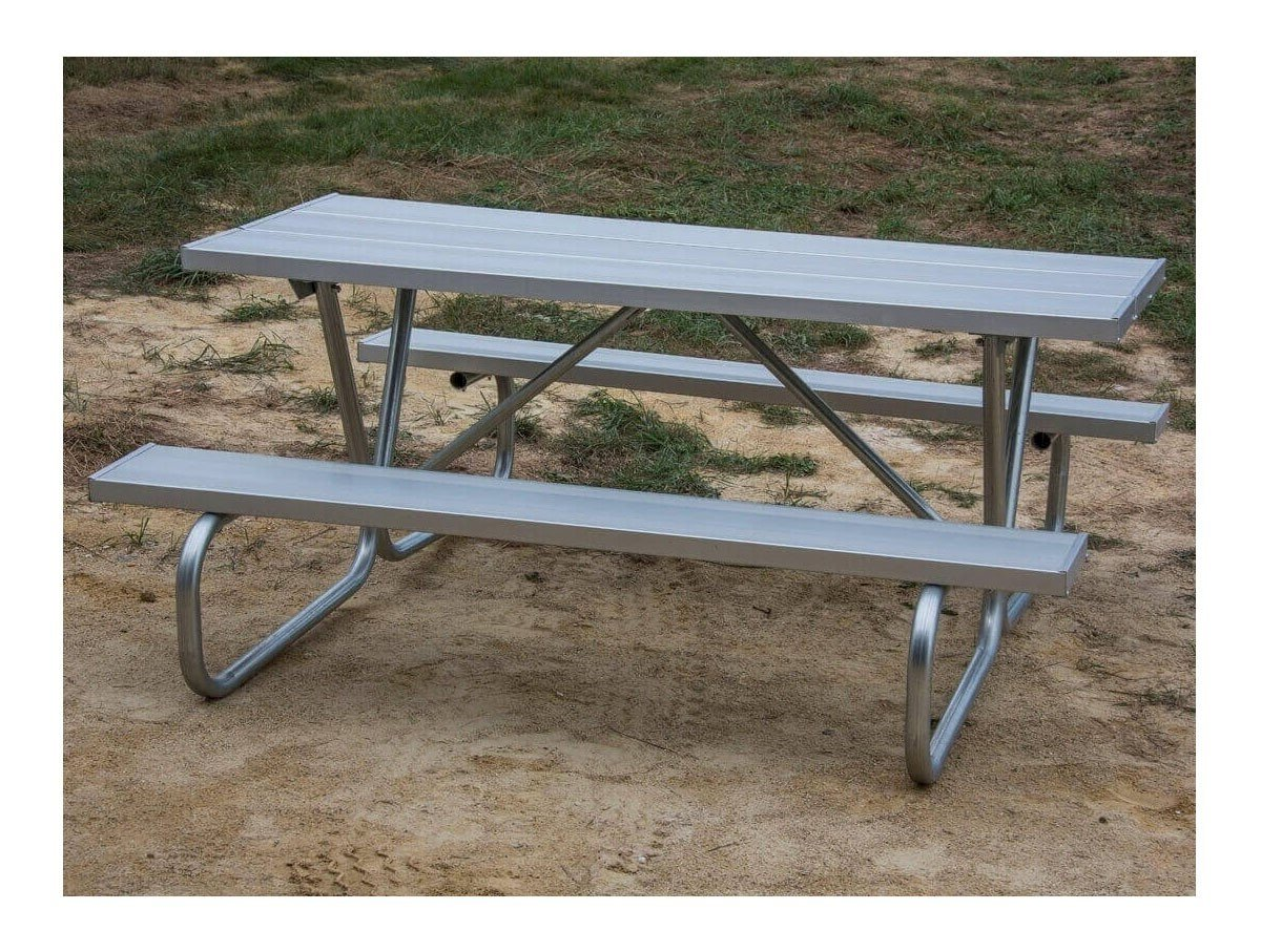 8 ft aluminum picnic table with bolted 1 5 8 o d tube steel