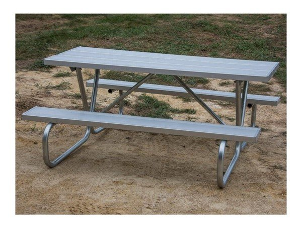 Ft Aluminum Picnic Table With Bolted OD Tube Steel Frame - Steel picnic table frame