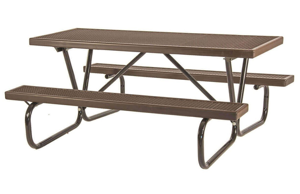 8 ft plastisol coated expanded metal picnic table with bolted 1 5