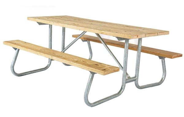 8 Ft. Southern Yellow Pine Wooden Picnic Table With Welded Steel Frame