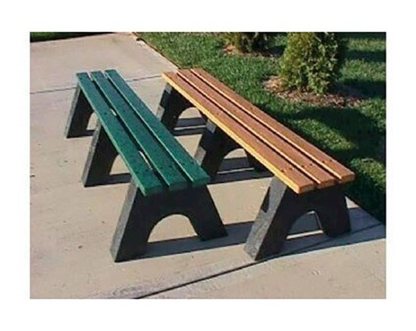 Recycled Plastic 3 Slat Backless Bench - 4 Ft., 6 Ft., Or 8 Ft.