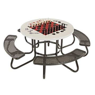 "48"" Round Game Picnic Table With Fiberglass Top And Plastisol Expanded Metal Seats"