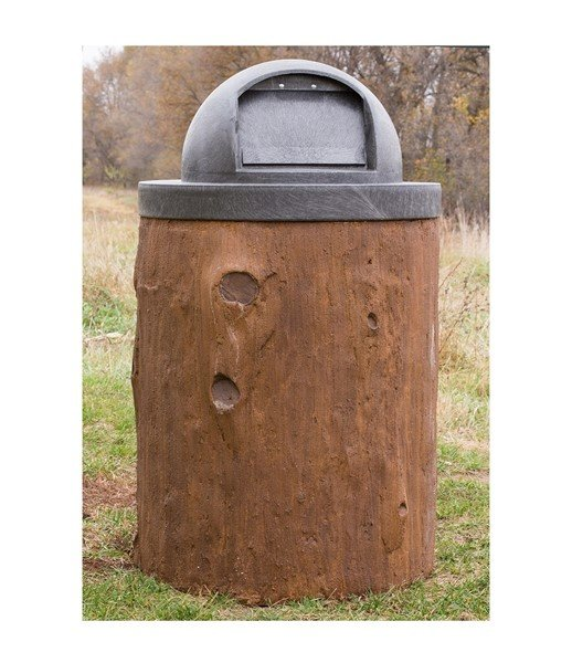 32 Gallon Concrete Log Design Trash Receptacle