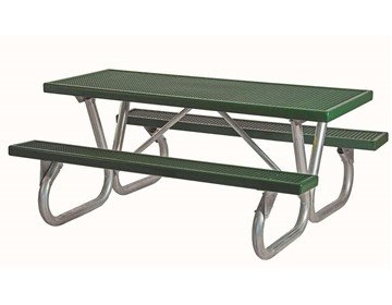 6 Ft. Heavy Duty Plastisol Coated Metal Picnic Table With Bolted Galvanized Frame