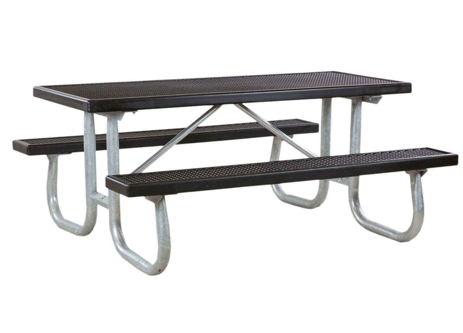 Ft Heavy Duty Plastisol Coated Metal Picnic Table With Welded - Black metal picnic table