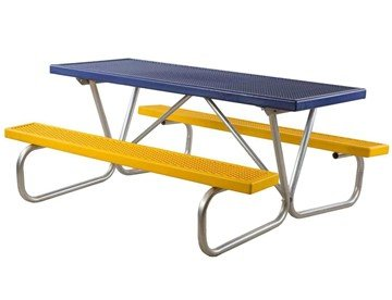 6 Ft. Plastisol Coated Metal Picnic Table With Bolted Galvanized Frame