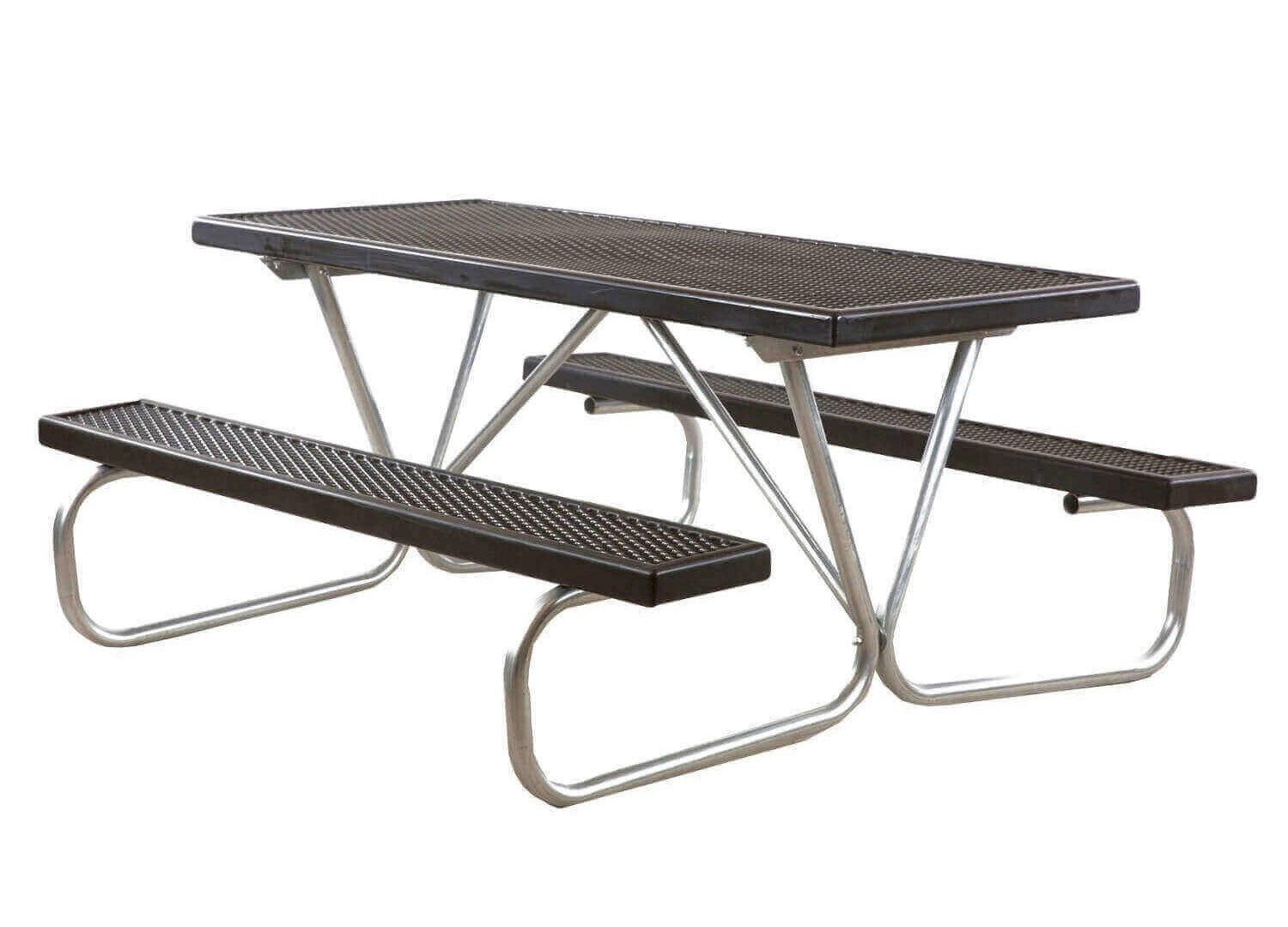 Ft Plastisol Coated Metal Picnic Table With Galvanized Bolted - Black metal picnic table