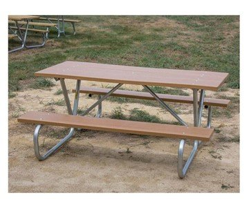 "8 Ft. Recycled Plastic Picnic Table With Bolted 1 5/8"" O.D. Tube Steel Frame"