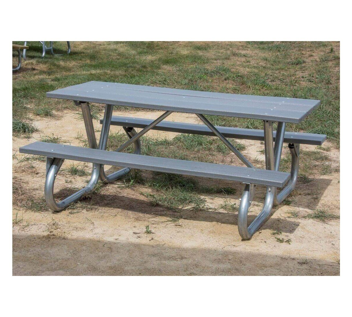 8 ft recycled plastic picnic table with heavy duty bolted 2 3 8