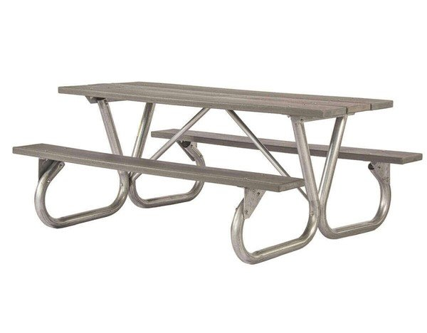 """8 Ft. Recycled Plastic Picnic Table With Galvanized Bolted 2-3/8"""" Frame"""