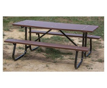 "8 Ft. Recycled Plastic Picnic Table Powder Coated 1-5/8"" Frame"