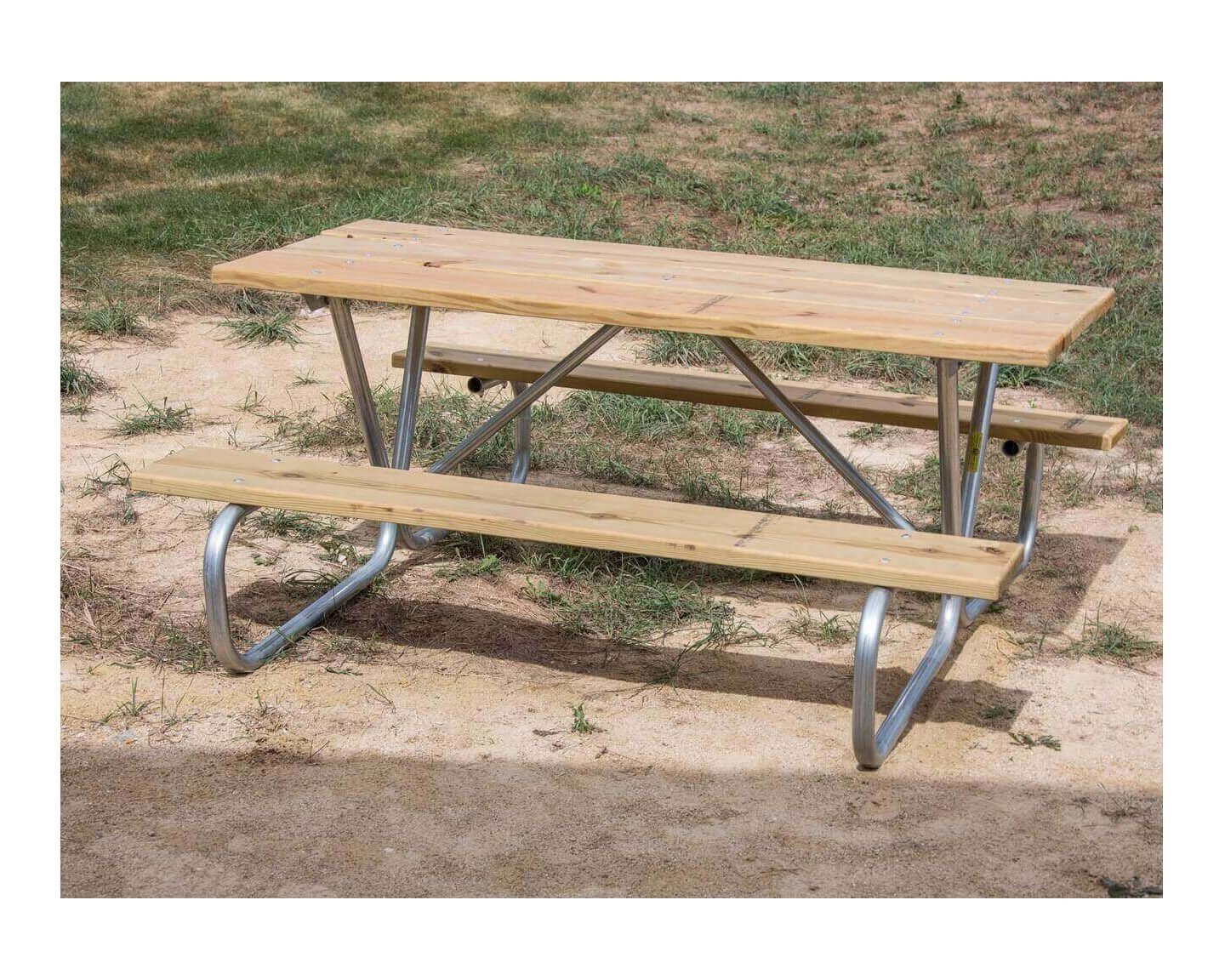 ... Portable 8 Ft. Southern Yellow Pine Picnic Table With Bolted Steel  Frame ...
