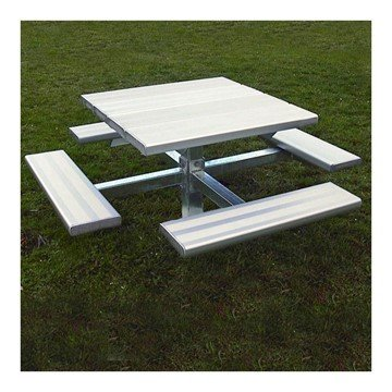 Square Aluminum Picnic Table With Galvanized Pedestal Frame, Inground Or Surface Mount