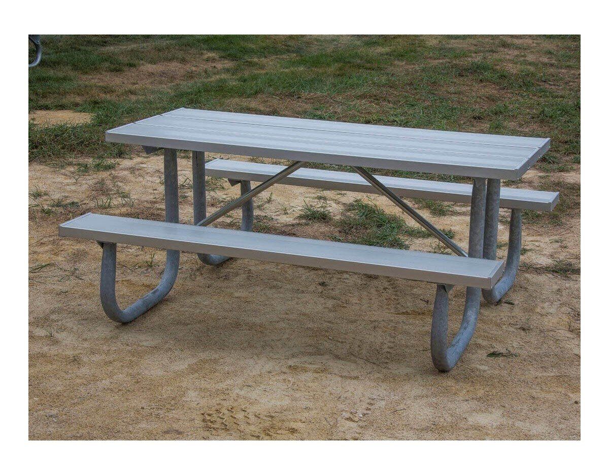 ... 8 Ft. Heavy Duty Aluminum Picnic Table With Welded Galvanized Steel  Frame
