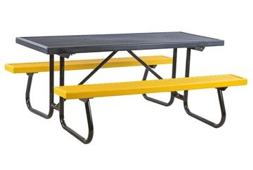 8 Ft. Plastisol Coated Expanded Metal Picnic Table With Welded Steel Frame