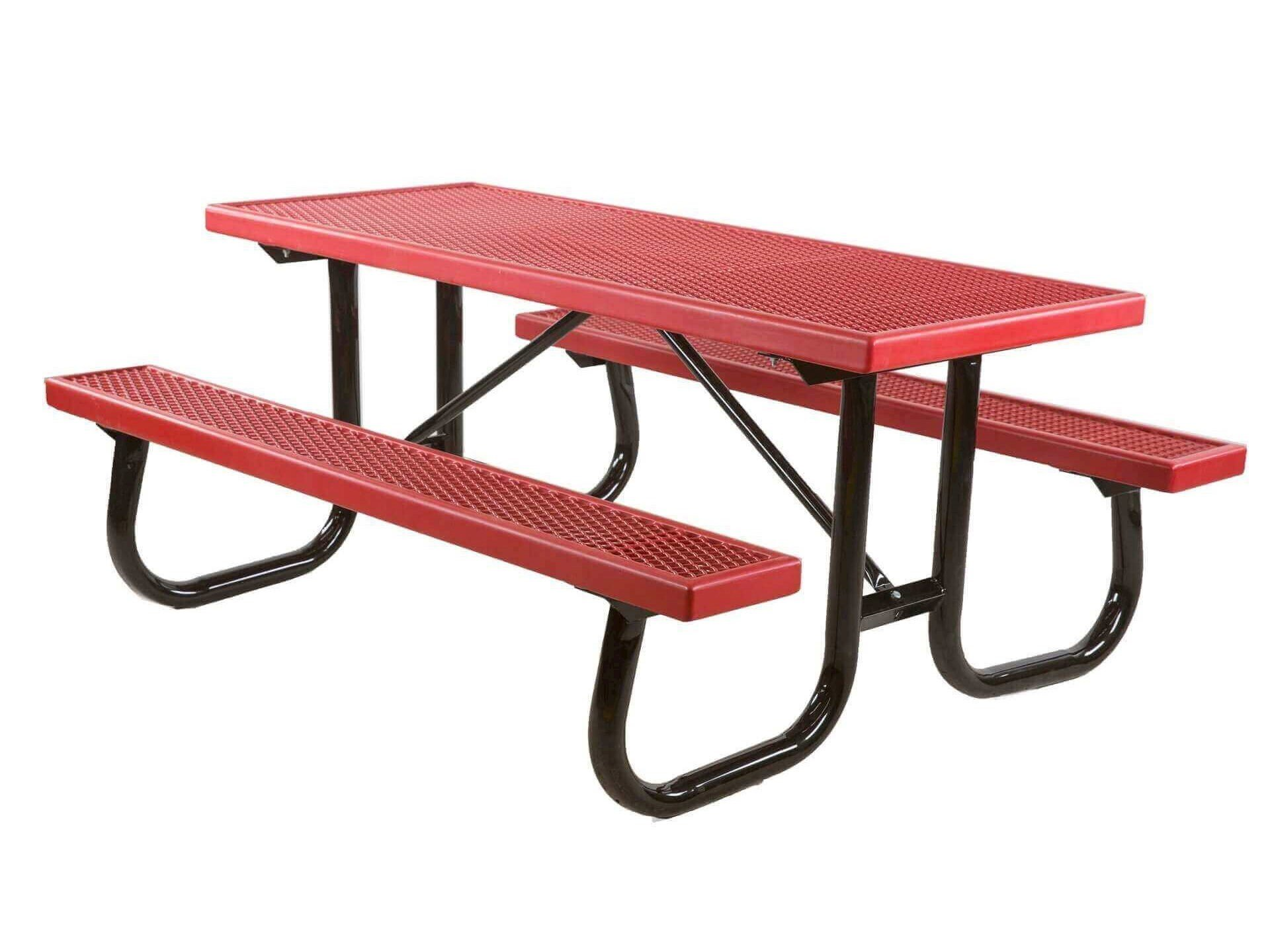 ... 8 Ft. Plastisol Coated Expanded Metal Picnic Table With Welded Steel  Frame ...