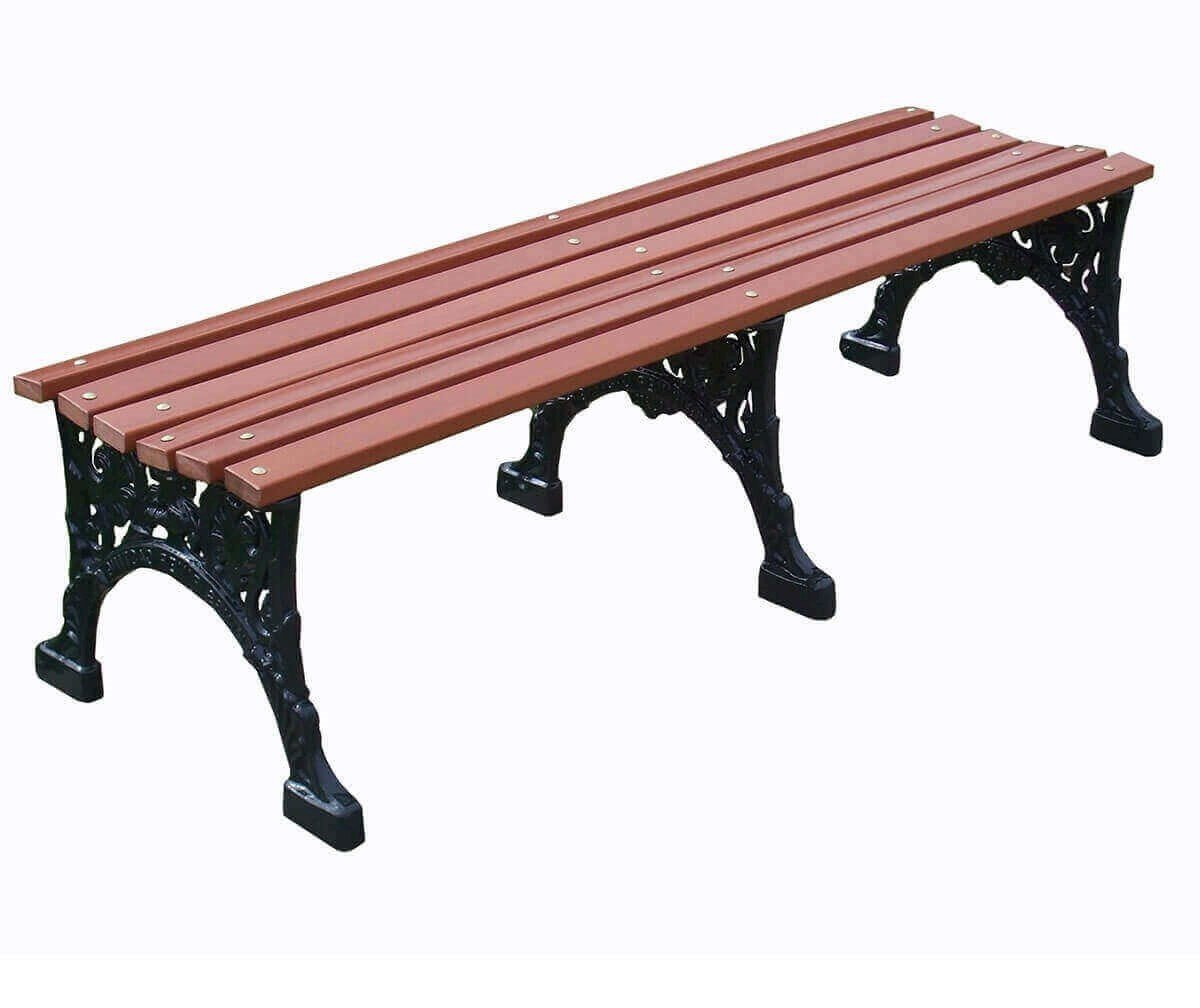 Renaissance Park Backless Bench Recycled Plastic Slats And Cast Aluminum Frame 4 Ft 5 Ft