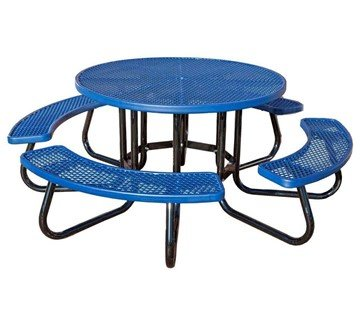 Round Plastisol Picnic Table With Galvanized Steel Frame