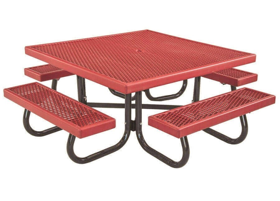 "48"" Square Children s Plastisol Coated Expanded Metal Picnic Table"
