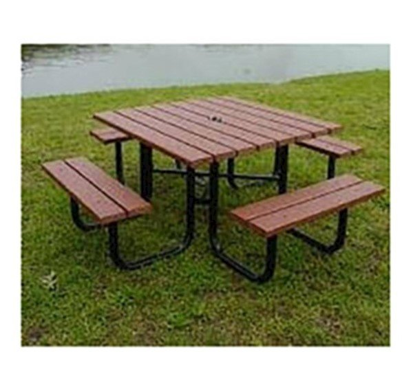 "48"" square recycled plastic picnic table with 1 5/8"" o.d. tube steel"