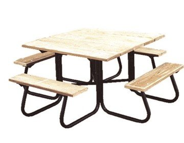 "48"" Square Wooden Picnic Table With 1 5/8"" O.D. Tube Steel Frame"