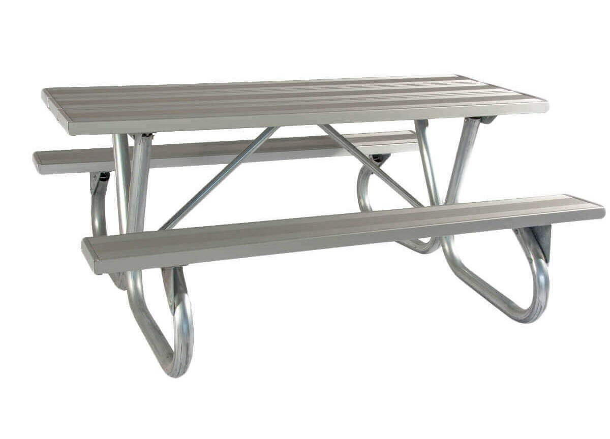 "8 Ft Aluminum Picnic Table with Heavy Duty Bolted 2 3 8"" O D Tube"