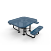 "Elite Series ADA Compliant 46"" X 54"" Octagon Thermoplastic Polyethylene Coated Picnic Table Perforated Steel - Blue - Portable"