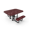 """Elite Series ADA Compliant Dual Access 46"""" X 63"""" Octagon Thermoplastic Polyethylene Coated Picnic Table Perforated Steel - Burgundy - Portable"""
