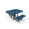 """Elite Series ADA Compliant Dual Access 46"""" X 63"""" Octagon Thermoplastic Polyethylene Coated Rolled Picnic Table Perforated Metal - Dark Blue - Portable"""