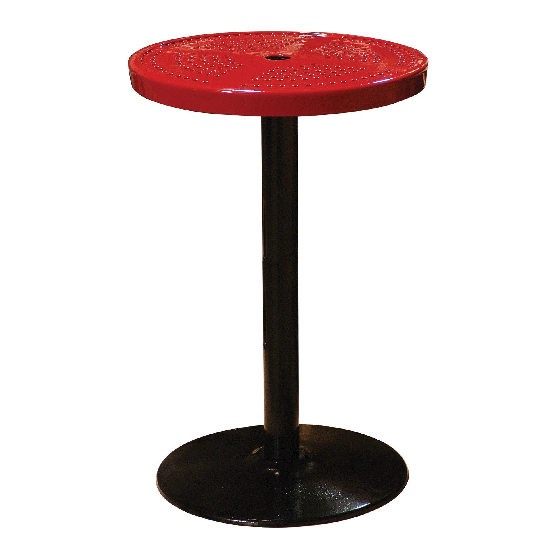 """24"""" Perforated Round Patio Thermoplastic Coated Bar Height Table"""