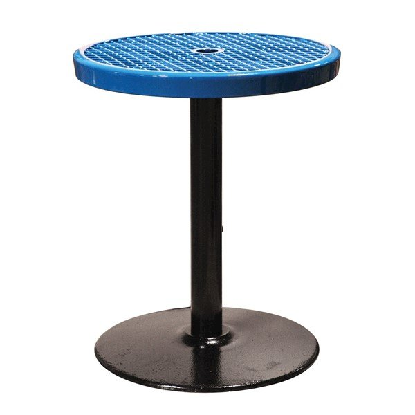 "24"" Expanded Metal Patio Thermoplastic Coated Bar Height Table - Blue - Portable"