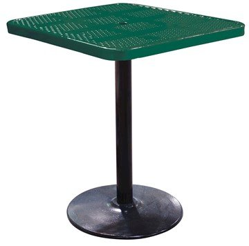 "36"" Perforated Square Patio Thermoplastic Coated Bar Height Table"