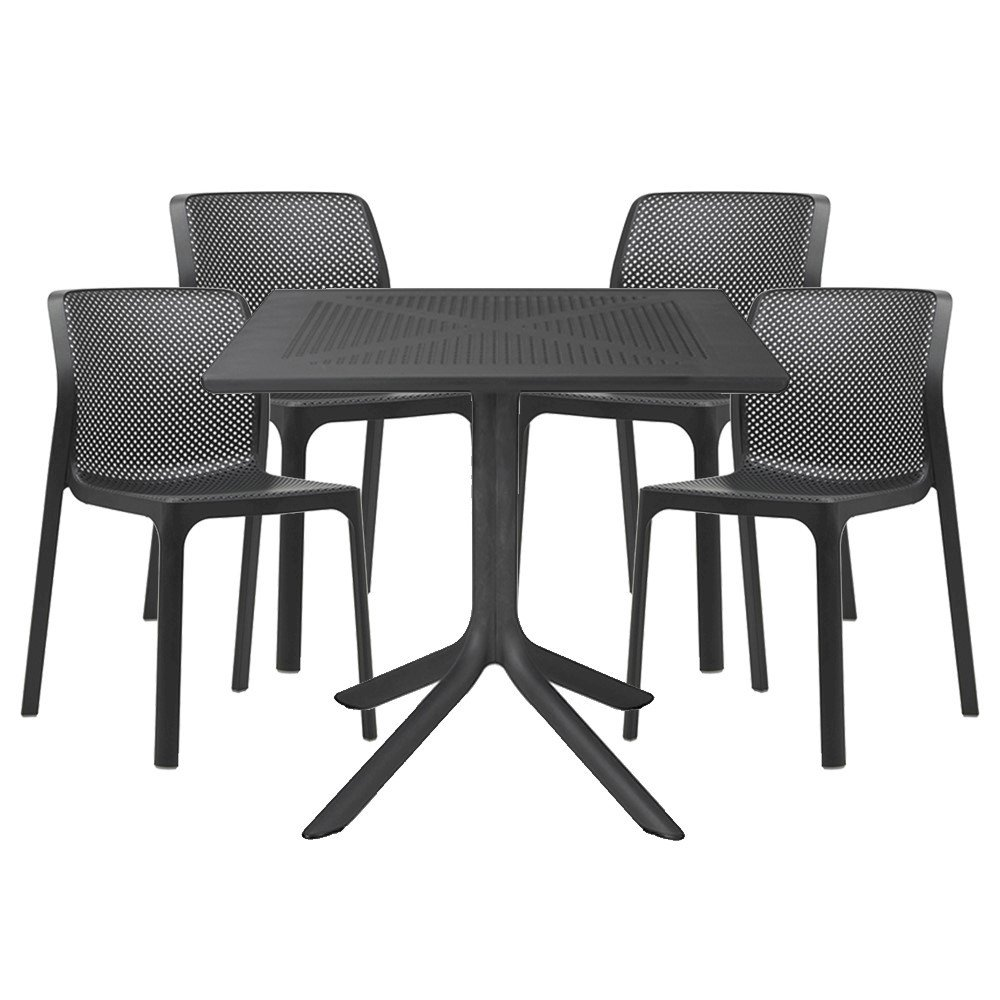 Bit Dining Set With Plastic Resin Chairs And 31 Quot Clip