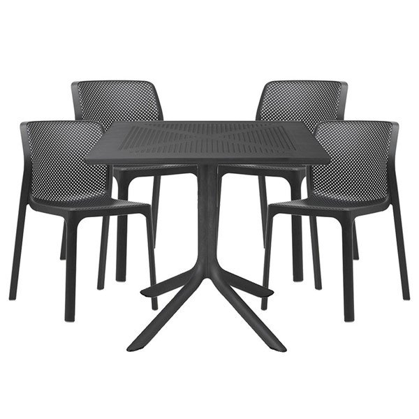 "Picture of Bit Dining Set with Plastic Resin Chairs and 31"" Clip Table Package"