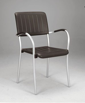 Picture of Musa Plastic Resin Dining Chair with Aluminum Frame - 9 lbs.