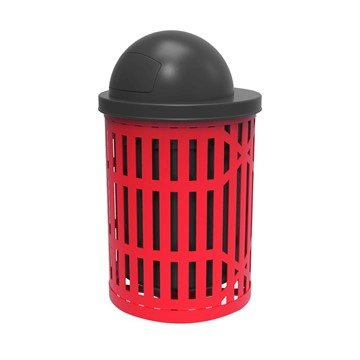 Elite Series 32 Gallon Thermoplastic Slatted Steel Trash Receptacle With Dome Top And Liner