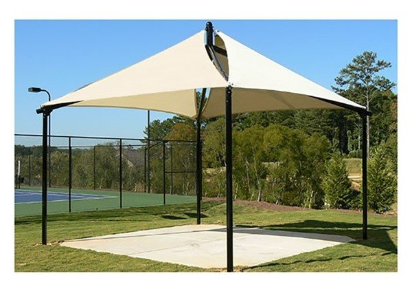 Quad Sail Fabric Shade Structure with 8 Ft. Entry Height