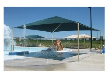 Square Fabric Hip End Shade Structure With 8 Ft. Entry Height