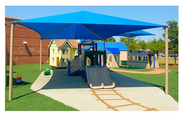 Square Fabric Hip End Shade Structure With 10 Ft. Entry Height