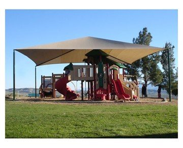 Square Fabric Hip End Shade Structure With 12 Ft. Entry Height