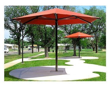 Hexagonal Fabric Umbrella Shade Structure With 8 Ft. Height