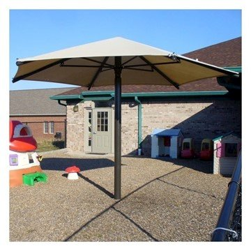 Hexagonal Fabric Umbrella Shade Structure With 10 Ft. Height