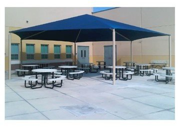 Hexagonal Fabric Hip End Shade Structure with 8 Ft. Entry Height